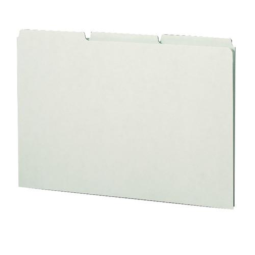 Smead Pressboard Guides, Plain 1/3-Cut Tab (Blank), Legal Size, Gray/Green, 50 per Box (52334)