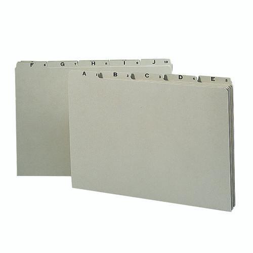 Smead Pressboard Guides, Plain 1/5-Cut Tab (A-Z), Legal Size, Gray/Green, 25 per Set (52376)