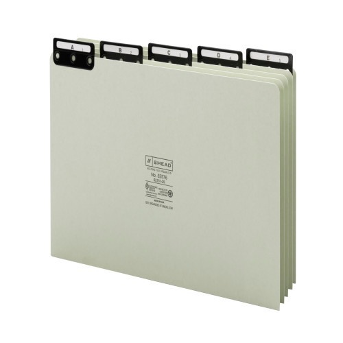 Smead Pressboard Guides, Flat Metal 1/5-Cut Tab with Insert (A-Z), Legal Size, Gray/Green, 25 per Set (52576)