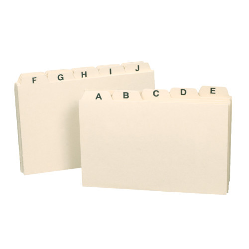 "Smead Card Guide, Plain 1/5-Cut Tab (A-Z), 5""W x 3""H, Manila, 25 per Set (55076) - 12 Sets"