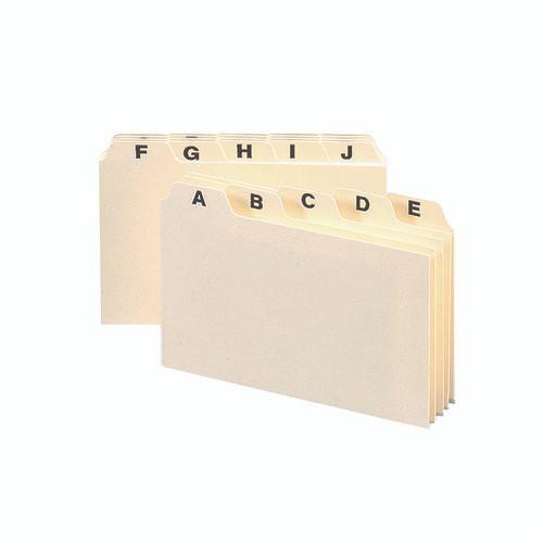 "Smead Card Guide, Plain 1/5-Cut Tab (A-Z), 6""W x 4""H, Manila, 25 per Set (56076) - 12 Sets"