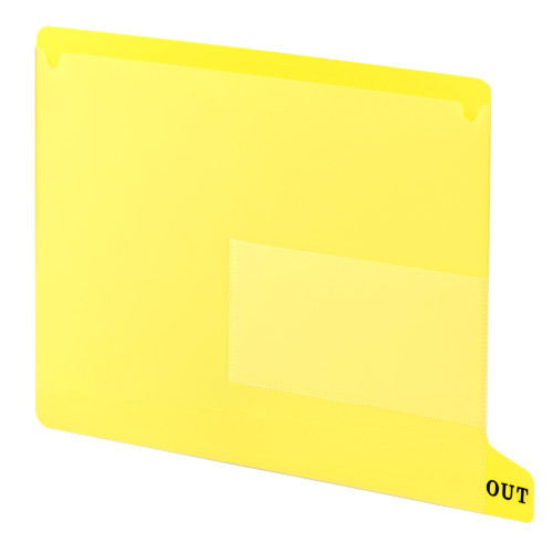 Smead End Tab Poly Out Guide, Two Pocket, Bottom Position Tab, Letter Size, Yellow, 25 per Box (61956)