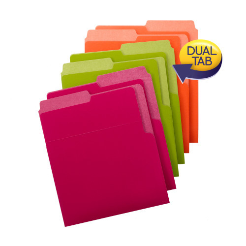 Smead Organized Up Heavyweight Vertical File Folders, Dual Tabs, Letter Size, Bright Tones, 6 per Pack (75406) - 10 Packs