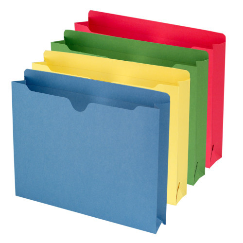 """Smead File Jacket, Reinforced Straight-Cut Tab, 2"""" Expansion, Letter Size, Assorted Colors, 50 per Box (75673)"""