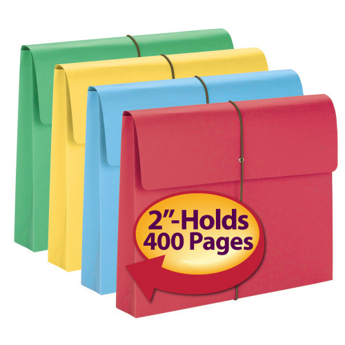 """Smead Expanding File Wallet, 2"""" Expansion, Protective Flap and Cord Closure, Letter Size, Assorted Colors, 10 per Box (77207)"""