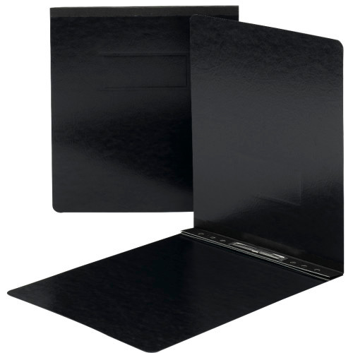 "Smead Pressboard Report Cover, Metal Prong with Compressor, Top Fastener, 250 Sheets/2"" Capacity, Letter Size, Black, 25 per Box (81125)"