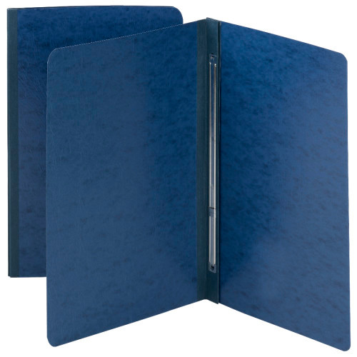 "Smead Pressboard Report Cover, Metal Prong with Compressor, Side Fastener, 3"" Capacity, Dark Blue (81351)"