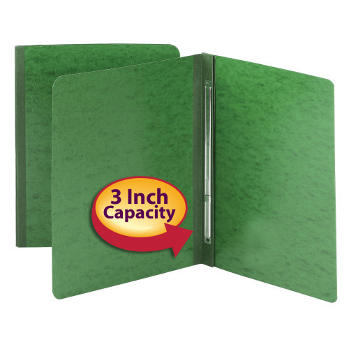 "Smead PressGuard Report Cover, Metal Prong with Compressor, Side Fastener, 350 Sheets/3"" Capacity, Letter Size, Green, 25 per Box (81452)"