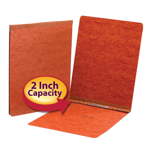 "Smead PressGuard Binder Cover, Metal Prong with Compressor, Top Fastener, 250 Sheets/2"" Capacity, Letter Size, Red, 25 per Box (81724)"