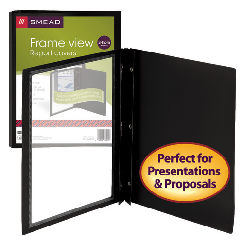 "Smead Frame View Poly Report Cover, Three 1/2"" Fasteners, Side Fastener, Up to 80 Sheets, Letter Size, Black/Clear Front, 5 per Pack (86020) - 10 Packs"