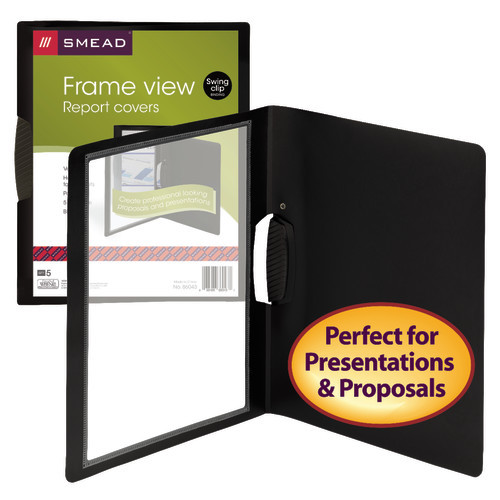 Smead Frame View Poly Report Cover with Swing Clip, Side Fastener, 30 Sheet Capacity, Black/Clear Front (86043) - 10 Packs