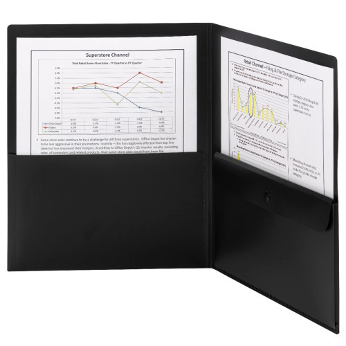 Smead Poly Two-Pocket Folder with Security Pocket, Holds up to 100 Sheets, Letter Size, Black, 5 per Pack (87700) - 10 Packs