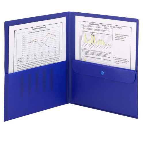 Smead Poly Two-Pocket Folder with Security Pocket, Holds up to 100 Sheets, Letter Size, Blue, 5 per Pack (87701) - 10 Packs