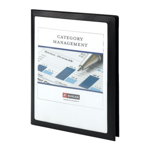 Smead Frame View Poly Two-Pocket Folder, Holds up to 100 Sheets, Letter Size, Black, 5 per Pack (87705) - 10 Packs