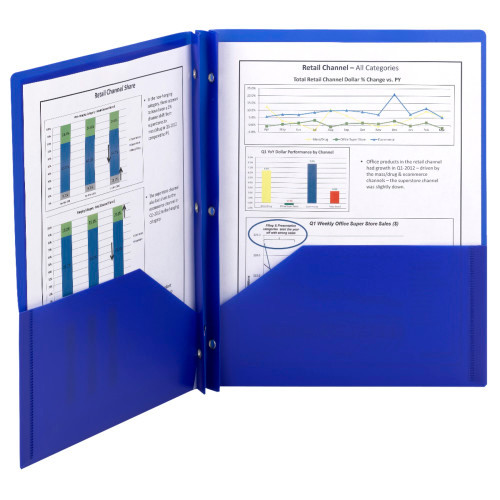 Smead Poly Two-Pocket Folder, Tang-style Fastener, Holds up to 180 Sheets, Letter Size, Blue, 25 per Box (87726)