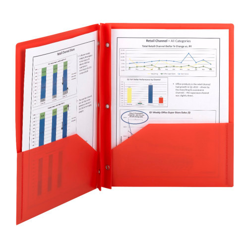 Smead Poly Two-Pocket Folder, Tang-style Fastener, Holds up to 180 Sheets, Letter Size, Red, 25 per Box (87727)