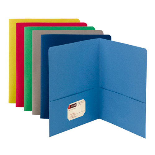 Smead 87850  Two-Pocket Heavyweight Folder, Up to 100 Sheets, Letter Size, Assorted Colors, 25 per Box (87850)