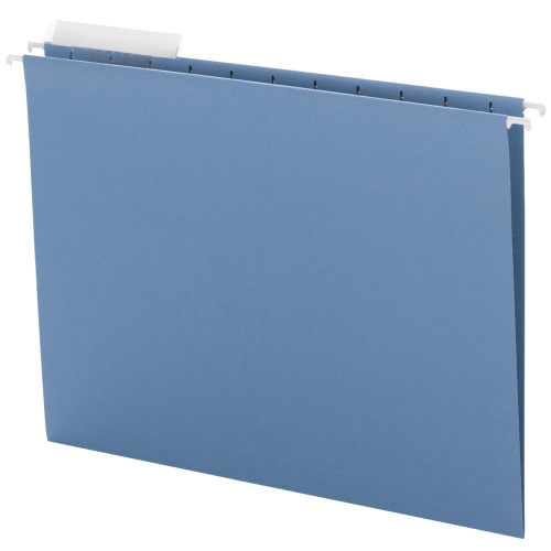 Smead Hanging File Folder with Tab, 1/3-Cut Adjustable Tab, Letter Size, Blue, 25 per Box  (64021)