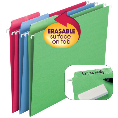 Smead Erasable FasTab Hanging File Folder, 1/3-Cut Built-In Tab, Letter Size, Assorted Colors, 18 per Box (64031) - 10 Boxes
