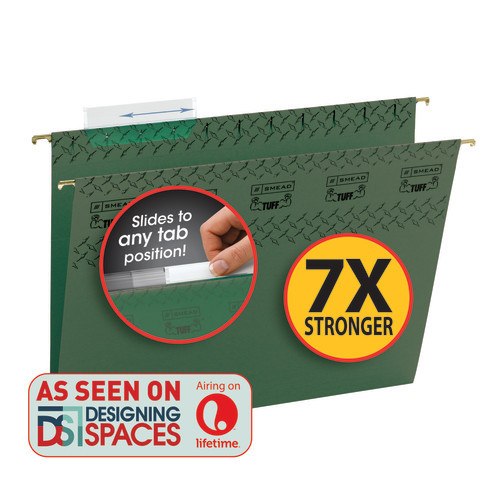 Smead TUFF Hanging File Folder with Easy Slide™ Tab, 1/3-Cut Sliding Tab, Letter Size, Standard Green, 20 per Box  (64036)