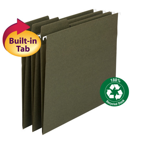 Smead 100% Recycled FasTab Hanging File Folder,  1/3-Cut Built-In Tab, Letter Size, Moss, 20 per Box (64037)