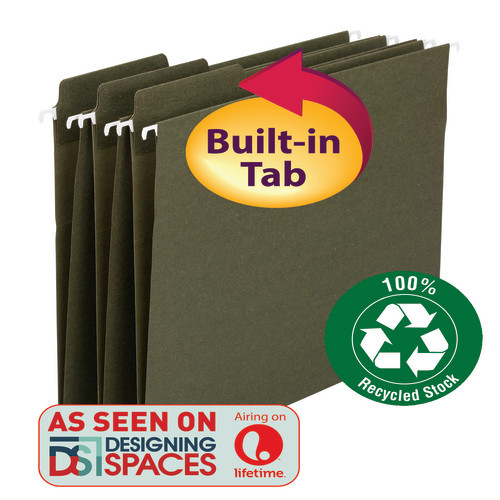 Smead 100% Recycled FasTab Hanging File Folders, 1/3-Cut Built-In Tab, Letter Size, Standard Green, 20 per Box (64038)