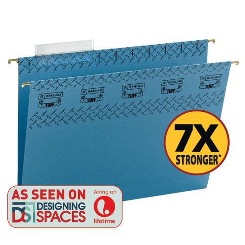Smead TUFF Hanging File Folder with Easy Slide™ Tab, 1/3-Cut Sliding Tab, Letter Size, Blue, 18 per Box (64041)