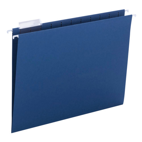 Smead Hanging File Folder with Tab, 1/5-Cut Adjustable Tab, Letter Size, Navy, 25 per Box (64057)