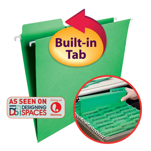 Smead FasTab Hanging File Folder, 1/3-Cut Built-In Tab, Letter Size, Green, 20 per Box (64098)