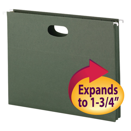 "Smead Hanging File Pocket, 3-3/4"" Expansion, Letter Size, Standard Green, 25 per Box (64218)"