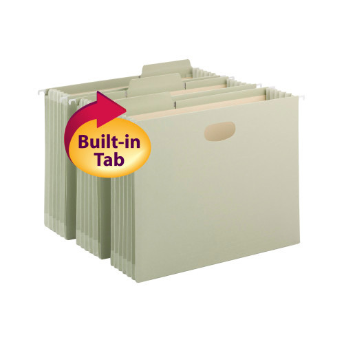 Smead FasTab Hanging File Pocket with TUFF Construction and Full-Height Gusset, 1/3-Cut Built-in Tab, Moss (64224)