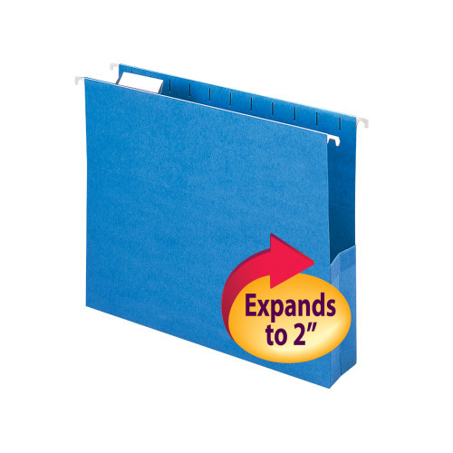 """Smead Hanging File Pocket with Tab, 2"""" Expansion, 1/5-Cut Adjustable Tab, Letter Size, Sky Blue, 25 per Box (64250)"""