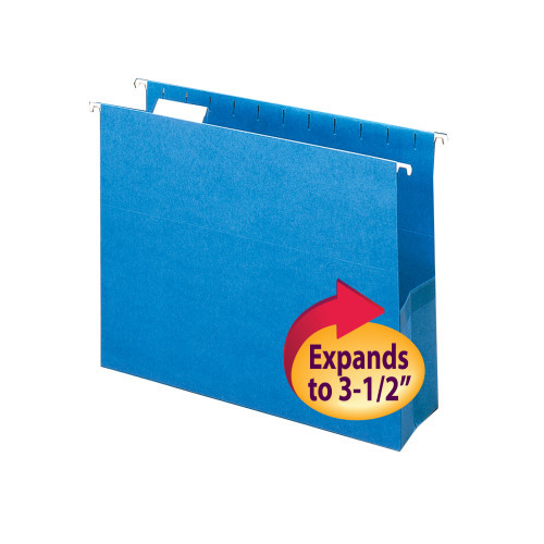 """Smead Hanging File Pocket with Tab, 3"""" Expansion, 1/5-Cut Adjustable Tab, Letter Size, Sky Blue, 25 per Box (64270)"""