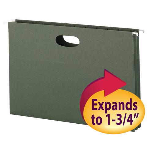 "Smead Hanging File Pocket, 1-3/4"" Expansion, Legal Size, Standard Green, 25 per Box (64318)"