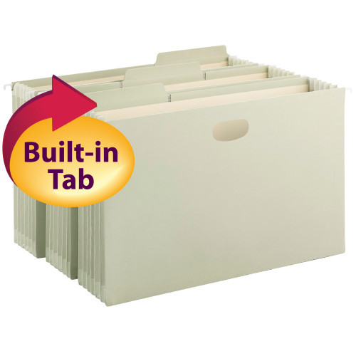 Smead FasTab Hanging File Pocket with TUFF Construction and Full-Height Gusset, 1/3-Cut Built-in Tabs, Legal, Moss (64324)