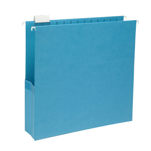 """Smead Hanging File Pocket with Tab, 3"""" Expansion, 1/5-Cut Adjustable Tab, Legal Size, Sky Blue, 25 per Box (64370)"""