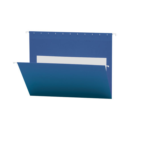 Smead Hanging File Folders with Interior Pocket, Letter Size, Navy, 25 per Box (64434)