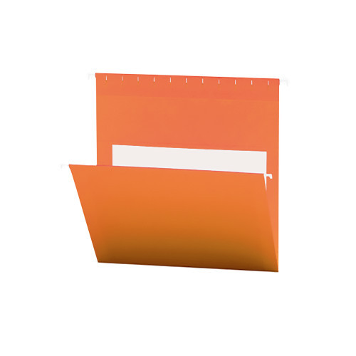 Smead Hanging File Folders with Interior Pocket, Letter Size, Orange, 25 per Box (64435)