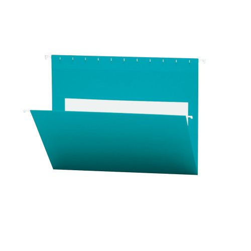 Smead Hanging File Folders with Interior Pocket, Letter Size, Teal, 25 per Box (64440)