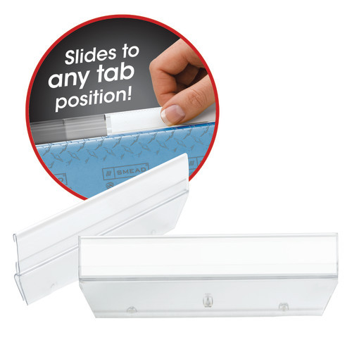 Smead Easy Slide Tab, 1/3-Cut, Clear, 18 Per Pack (64626) - 10 Packs