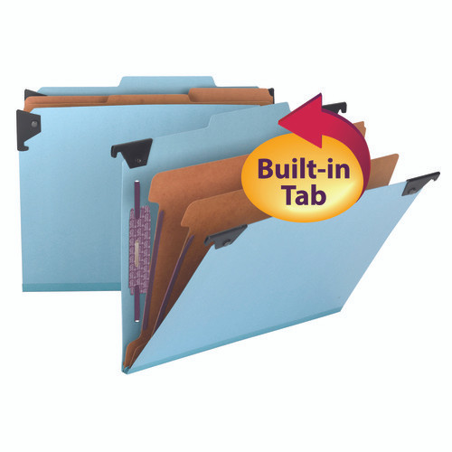Smead Hanging Pressboard Classification Folder with SafeSHIELD Fastener, 2 Dividers,  2/5-Cut Built-in Tab, Blue (65115)