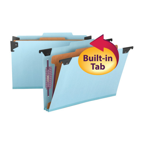 Smead Hanging Pressboard Classification Folder with SafeSHIELD Fastener, 1 Divider, 2/5-Cut Built-in Tab, Legal, Blue (65155)
