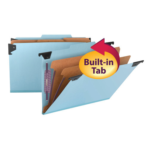 Smead Hanging Pressboard Classification Folder with SafeSHIELD Fastener, 2 Dividers, 2/5-Cut Built-in Tab, Legal, Blue (65165)