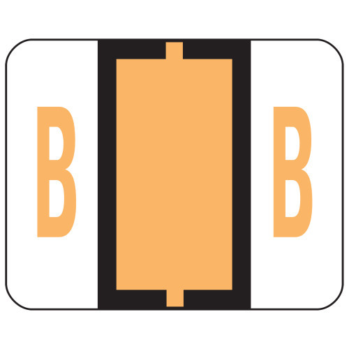 Smead BCCR Bar-Style Color-Coded Alphabetic Label, B, Label Roll, Light Orange, 500 labels per Roll, (67072)