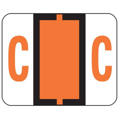 Smead BCCR Bar-Style Color-Coded Alphabetic Label, C, Label Roll, Dark Orange, 500 labels per Roll, (67073)