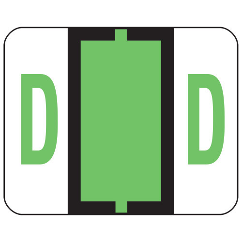 Smead BCCR Bar-Style Color-Coded Alphabetic Label, D, Label Roll, Light Green, 500 labels per Roll, (67074)