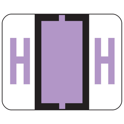 Smead BCCR Bar-Style Color-Coded Alphabetic Label, H, Label Roll, Lavender, 500 labels per Roll, (67078)
