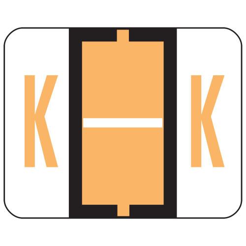 Smead BCCR Bar-Style Color-Coded Alphabetic Label, K, Label Roll, Light Orange, 500 labels per Roll, (67081)
