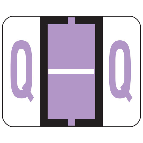 Smead BCCR Bar-Style Color-Coded Alphabetic Label, Q, Label Roll, Lavender, 500 labels per Roll, (67087)