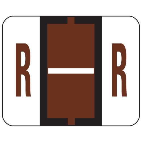Smead BCCR Bar-Style Color-Coded Alphabetic Label, R, Label Roll, Brown, 500 labels per Roll, (67088)